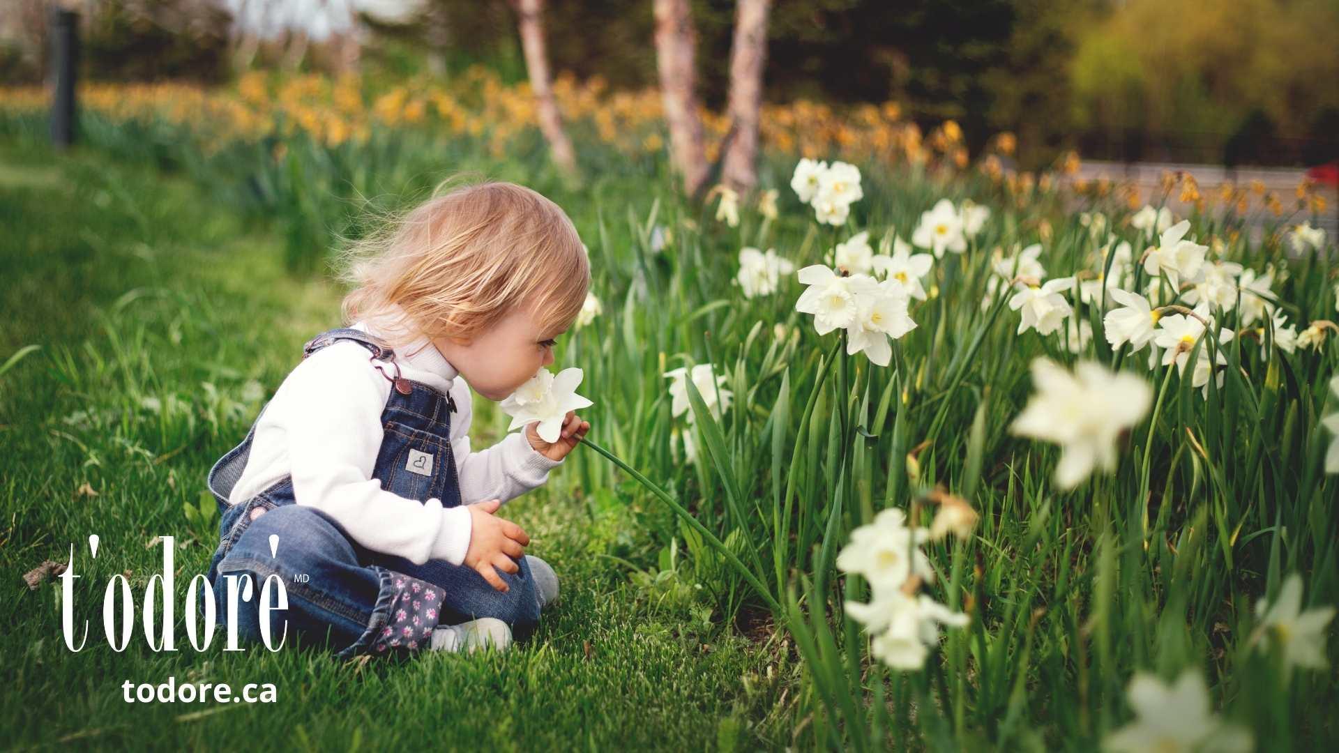 Enfant qui sent une fleur - T'Odoré - Pouvoir des odeurs